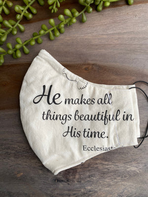 Cream Fabric Mask with Bible Verses [Series]