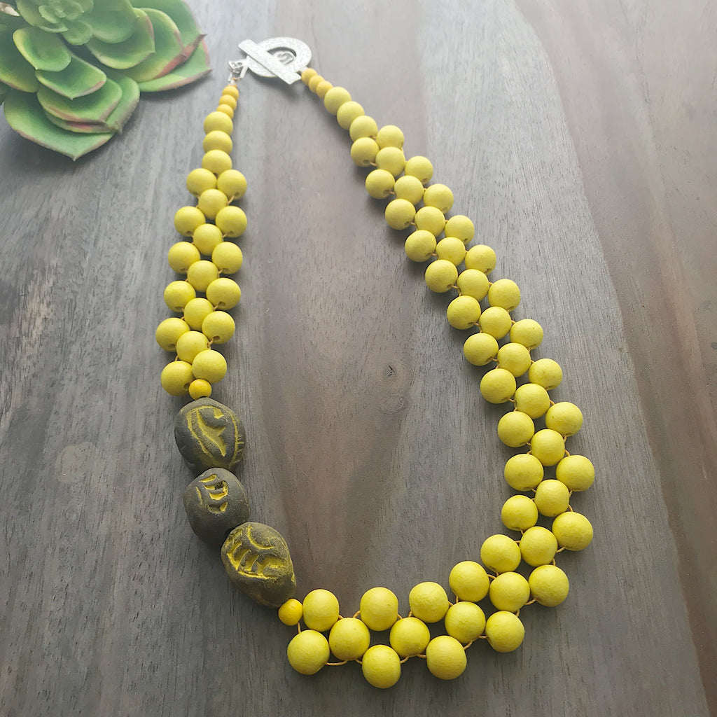 Yellow & Gray Interlaced Bib Necklace