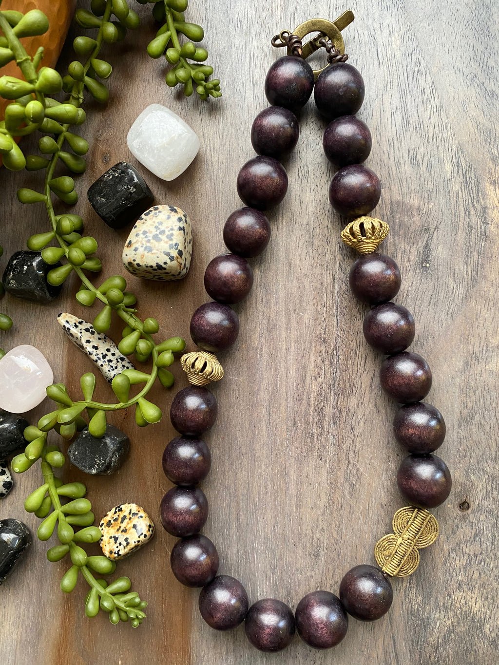 Chocolate Brown Wood & Brass Necklace [SALE]