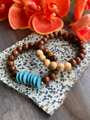 Wood, Acai & Ashanti Saucer Beaded Bracelet Duo