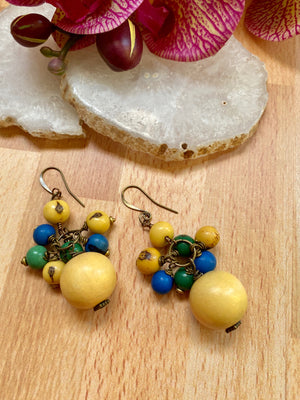 Yellow, Blue & Green Wood & Acai Cluster Earrings