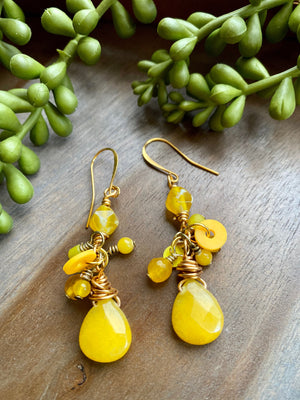 Bright Yellow Candy Jade Cluster Earrings