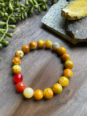Yellow Agate Leo Beaded Bracelet