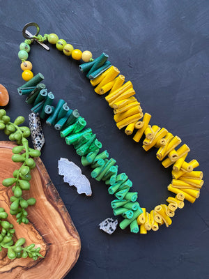 Yellow & Green Leather Necklace