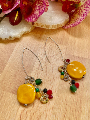 Yellow, Red & Green Kazuri Earrings