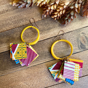 Yellow Tagua & African Fabric Statement Earrings