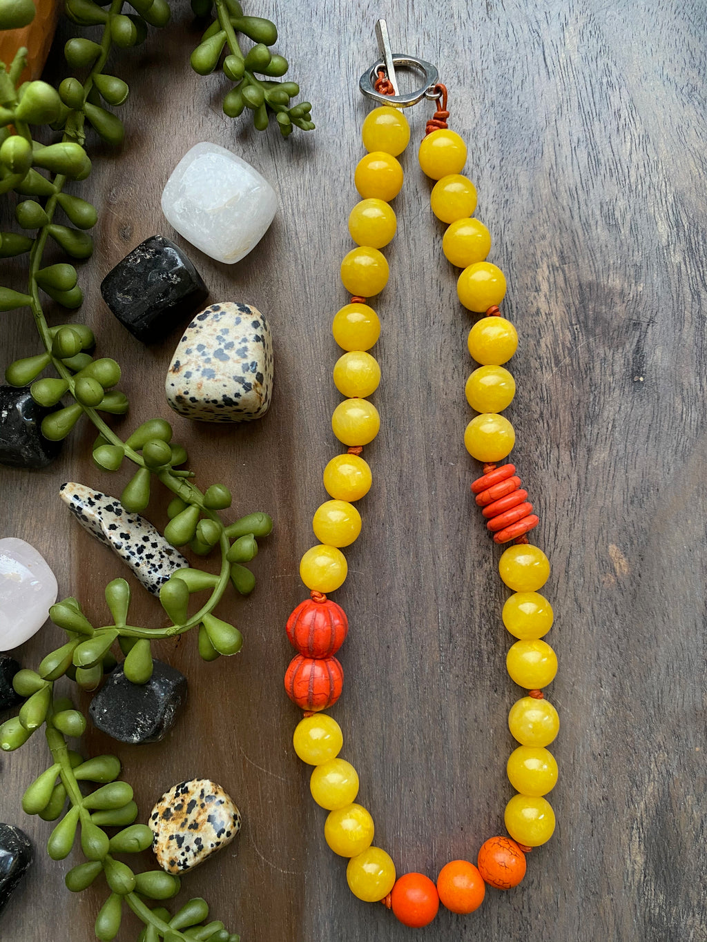 Yellow Mountain Jade & Orange Magnesite Bead Necklace [SALE]