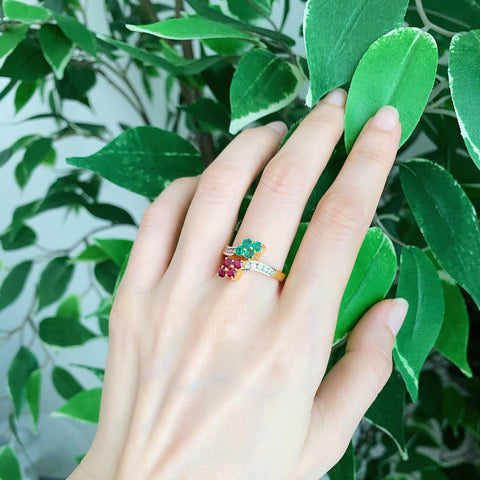 yellow gold emerald and ruby ring