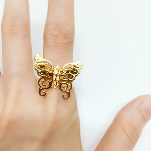 916 yellow gold customize butterfly name ring