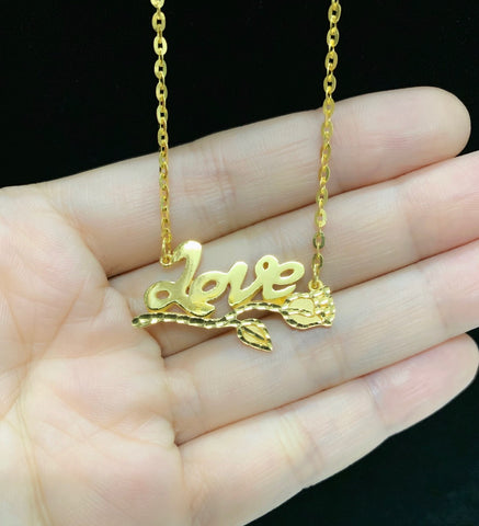 916 yellow gold customize love necklace