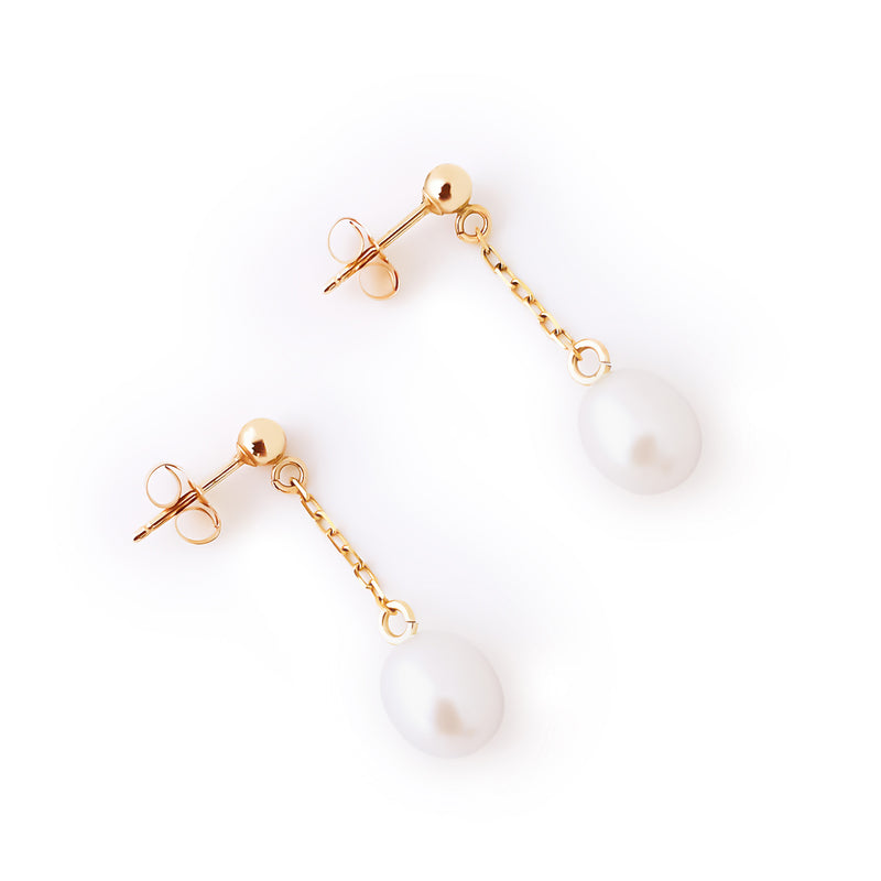 14K yellow gold cultured pearl dangling earrings