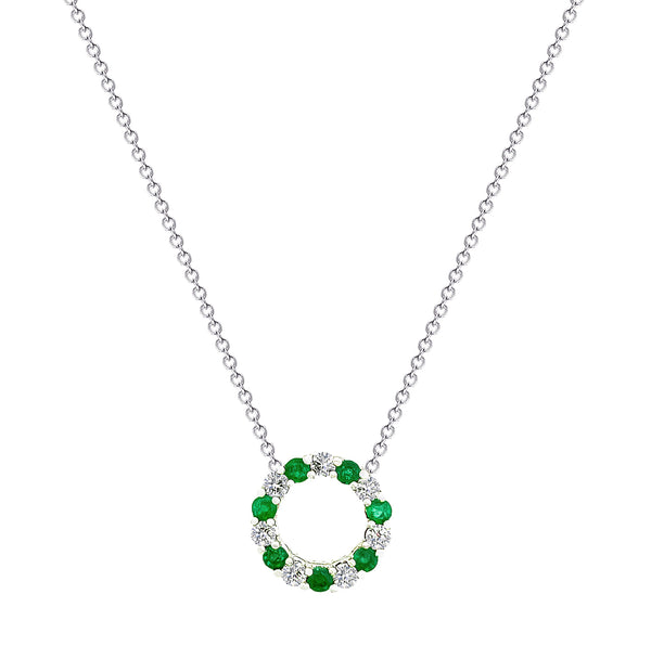 18K (750) White Gold Ladies/ Women Emerald and Diamond Pendant