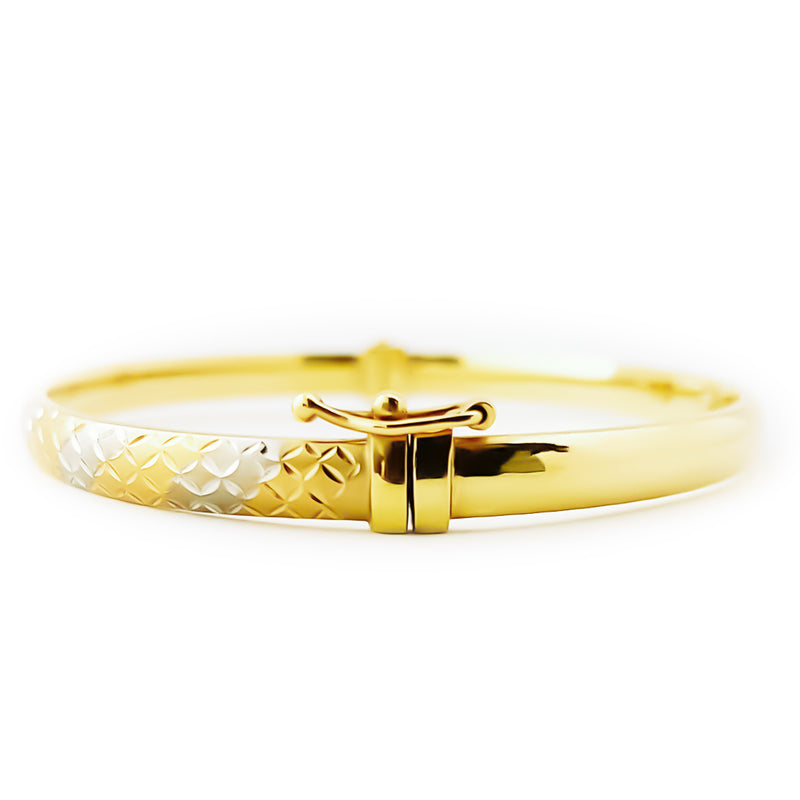 18K (750) Yellow Gold Unisex Two Tone Oval Shaped X Hinged Bangle