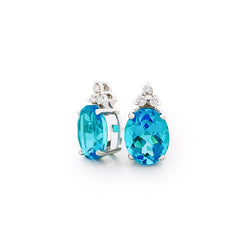 18K (750) White Gold Ladies/ Women Oval Shaped Blue Topaz and Diamond Earrings