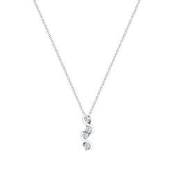 18K (750) White Gold Ladies/ Women Curvy Diamond Pendant