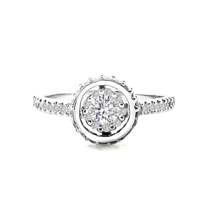 18K (750) White Gold Ladies/ Women Diamond Halo Ring