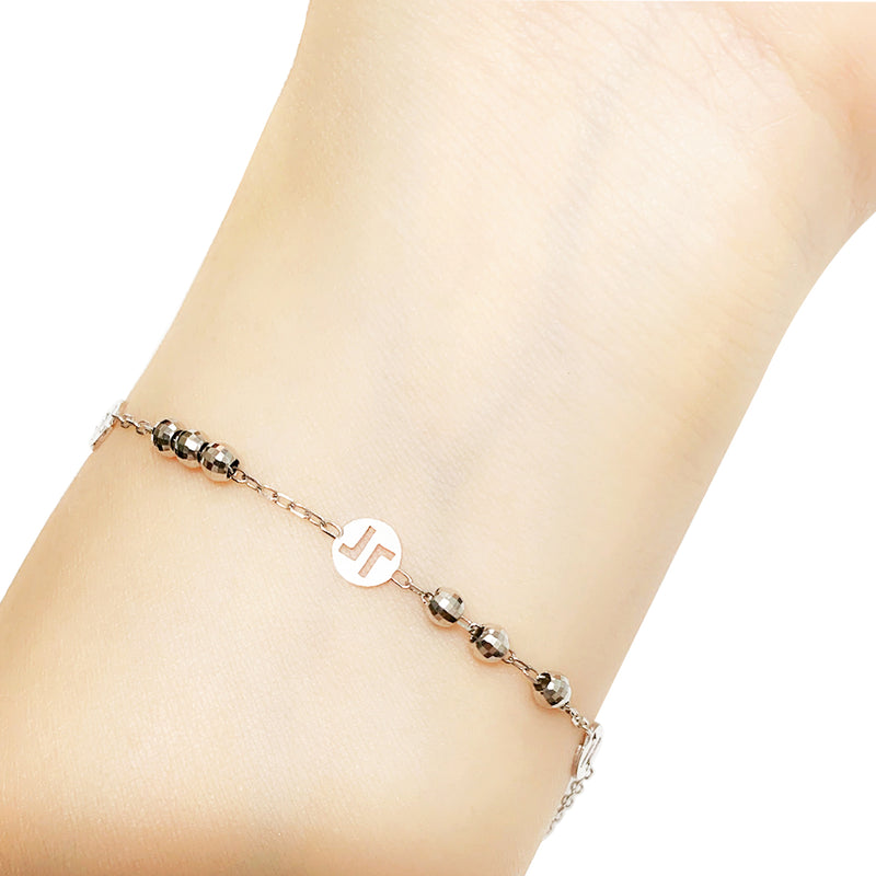 18K (750) White Gold Women/ Ladies Dainty Double L (Love) Machine Cut Beads Bracelet