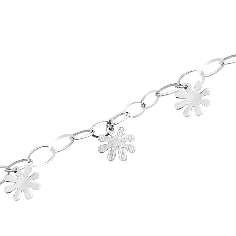 18K (750) White Gold Women/ Ladies Eight Petals Flower Charm Bracelet