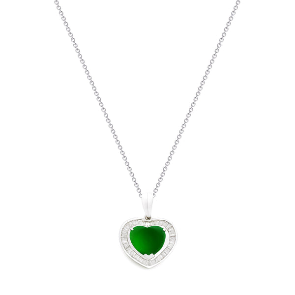 18K (750) White Gold Ladies/ Women Heart Shaped Imperial Jade and Diamond Pendant