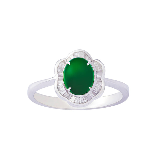 18K (750) White Gold Ladies/ Women Imperial Jade and Diamond Flower Ring