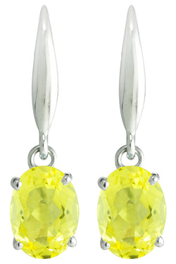 18K (750) White Gold ladies/ Women Dangling Earrings with Dazzling Oval Shaped Light Yellow Crystals