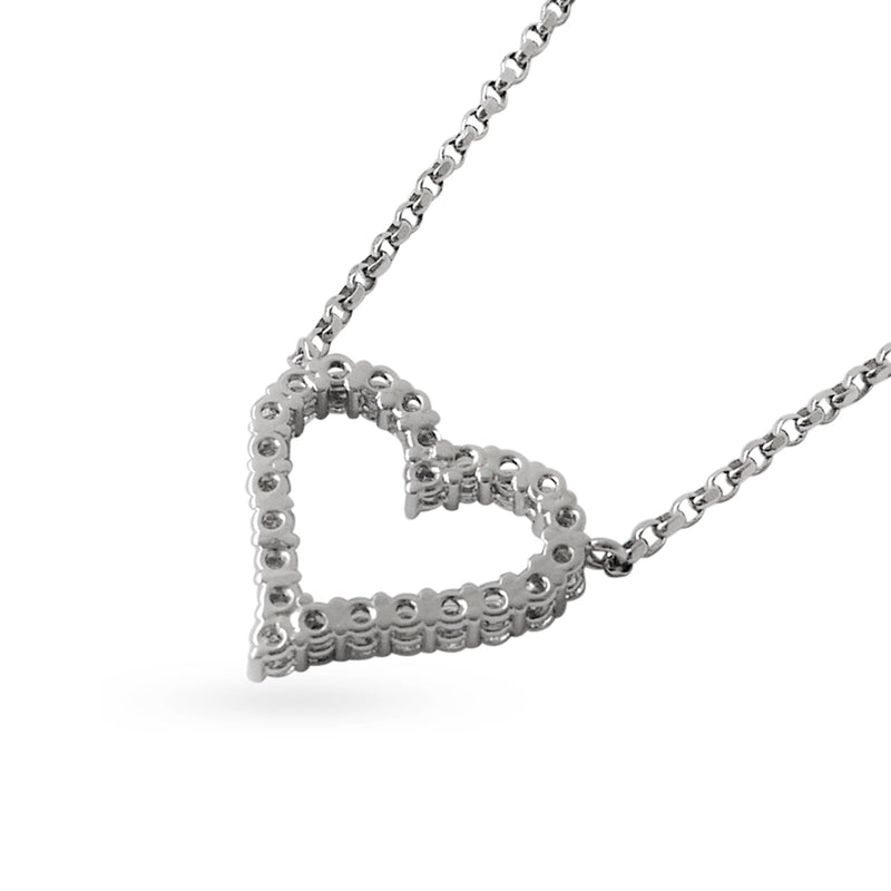 18K (750) White Gold Ladies/ Women Everyday Wear Love Shaped Diamond Necklace