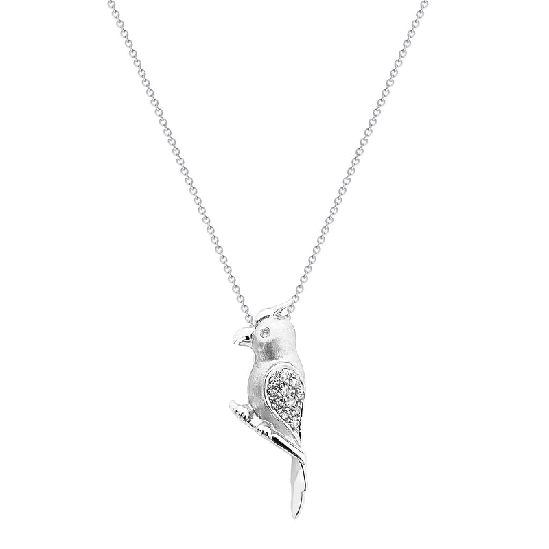 18K (750) White Gold Unisex Parrot Diamond Pendant
