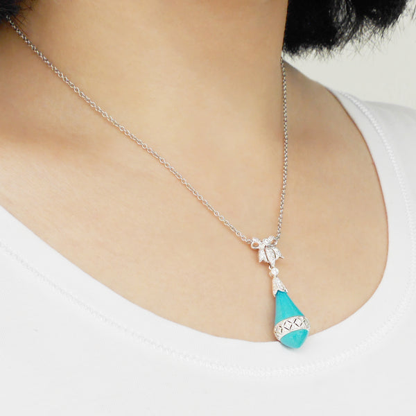 18K (750) White Gold Ladies/ Women Two Way Ribbon Turquoise & Diamond Necklace