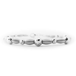 18K (750) White Gold Women/ Ladies Moon Cut Bead Spring Design Bangle