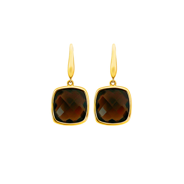 18K (750) Yellow Gold Ladies/ Women Cushion Shaped Smoky Topaz Drop Earrings