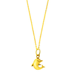 22K (916) Yellow Gold Ladies/ Women/ Kids 3D Dolphin Pendant