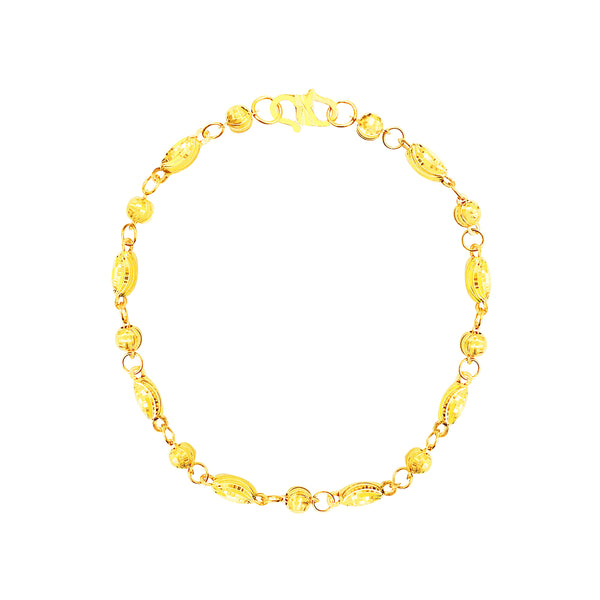 22K (916) Yellow Gold Ladies/ Women Moon Cut Bead Bracelet
