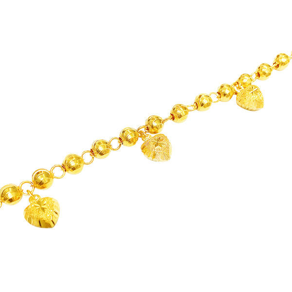 22K (916) Yellow Gold Ladies/ Women Heart Shaped Charms with Moon Cut Bead Bracelet