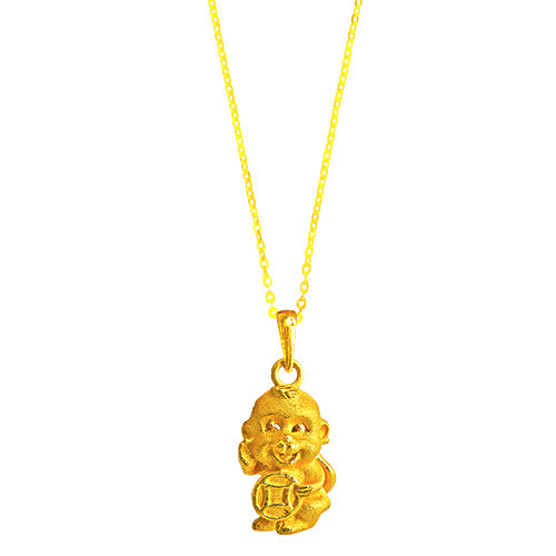 22K (916) Yellow Gold Unisex/ Kids 3D Prosperity Monkey Pendant