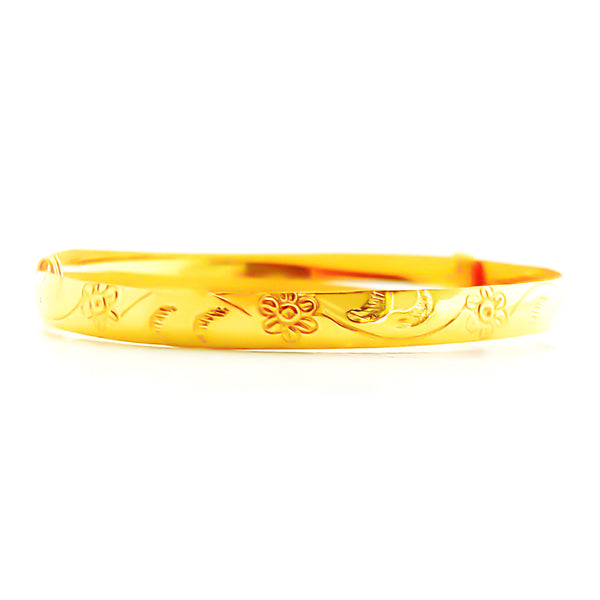 22K (916) Yellow Gold Baby Flower Adjustable Bangle