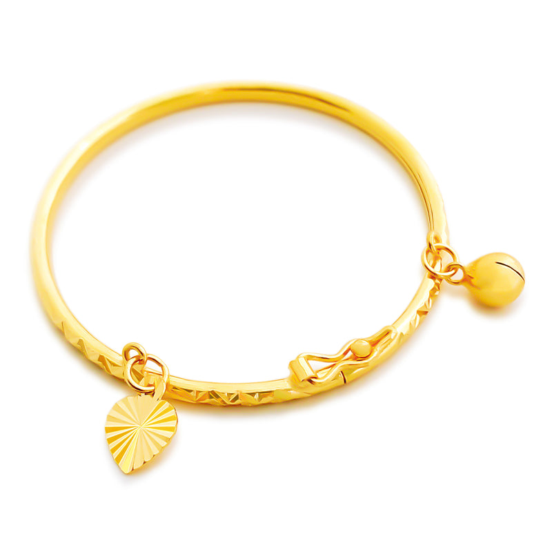 22K (916) Yellow Gold Toddler/ Kids Sparkly Bangle