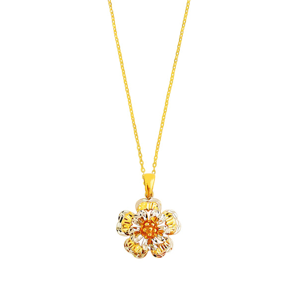 22K (916) Yellow Gold Ladies/ Women 3D Two Tone Five Petals Flower Pendant
