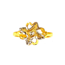 22K (916) Yellow Gold Ladies/ Women Two Tone Flower Ring