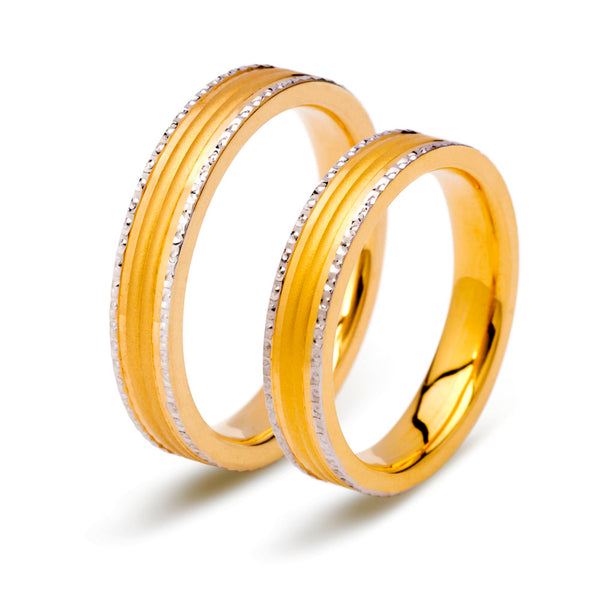 22K (916) Unisex Yellow Gold Two Tone Ring
