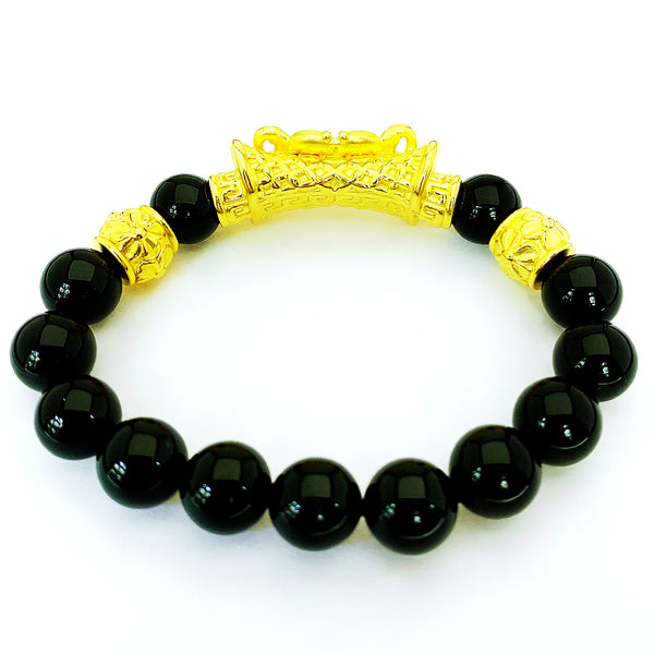 24K (999) Yellow Gold Unisex 3D Double Koi Fish Obsidian Bracelet