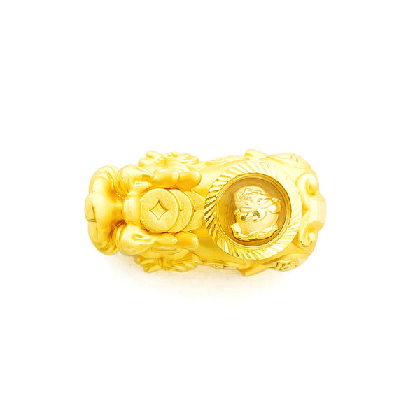 24K (999) Yellow Gold 3D Pi Xiu With Rotatable Qi Lin Charm