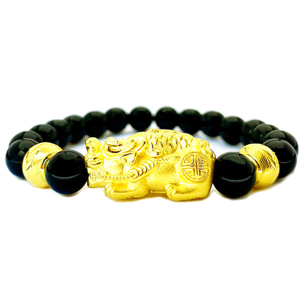 24K (999) Yellow Gold Unisex 3D Pi Xiu With Koi Fish Obsidian Bracelet