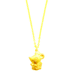 24K (999) Yellow Gold Double Prosperity Rat Pendant