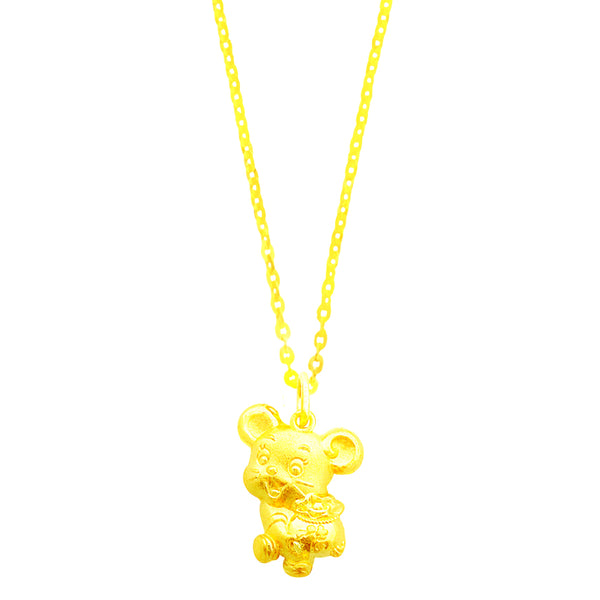 24K (999) Yellow Gold Happy & Prosperous Mouse Pendant