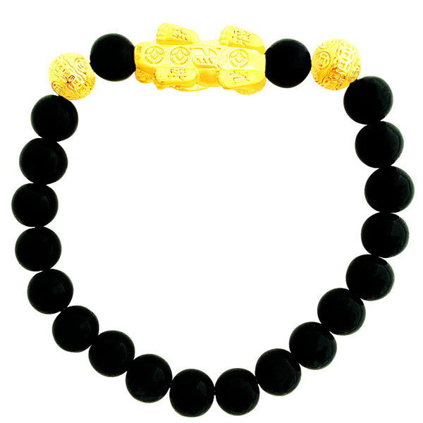 24K (999) Yellow Gold Unisex 3D Pi Xiu with Chinese Ingot Obsidian Bracelet