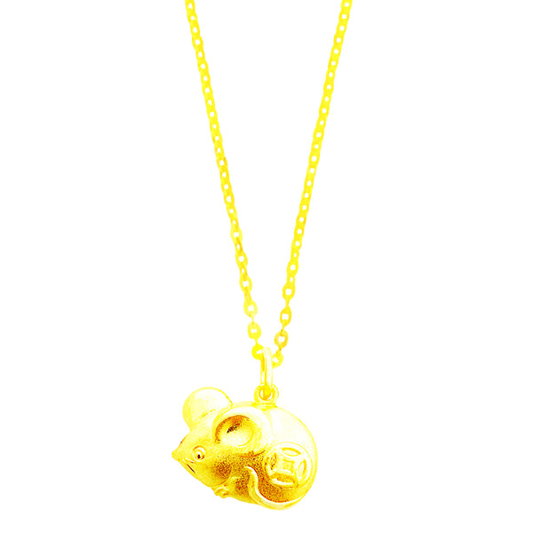 24K (999) Yellow Gold Prosperity and Auspicious Rat Pendant