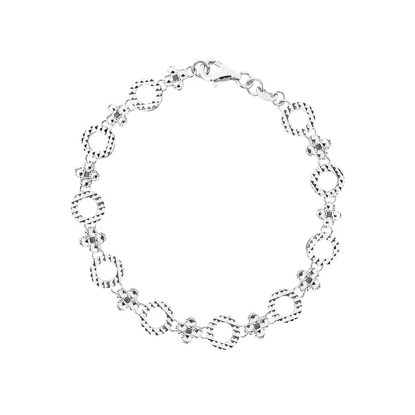 9K (375) White Gold Women/ Ladies Diamond Cut Flowers & Outline Circles Bracelet
