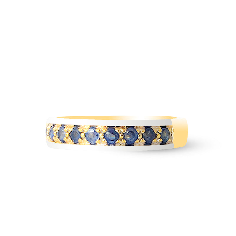 9K (375) Yellow Gold Unisex Two Tone Half Eternity Blue Sapphire Ring