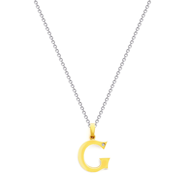 9K (375) Yellow Gold Ladies/ Women Letter G Diamond Pendant