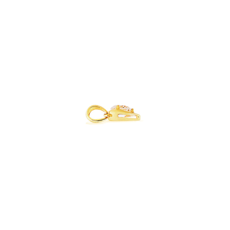 9K (375) Yellow Gold Ladies/ Women Heart Shaped Round Cubic Zirconia Pendant